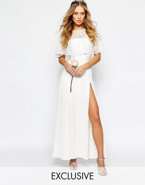 Fame and Partners Свадебное кружевное платье макси. Цвет: белый