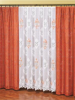 Комплект штор Haft. Цвет: рыжий, белый