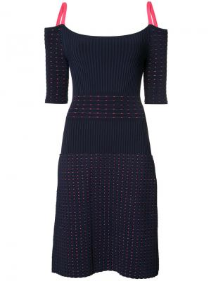 Вязаное платье с ребристой фактурой Jason Wu. Цвет: синий