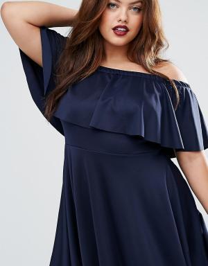 Praslin Короткое приталенное платье с открытыми плечами и оборкой Plus. Цвет: темно-синий