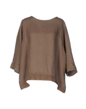 Блузка LA FABBRICA DEL LINO. Цвет: верблюжий