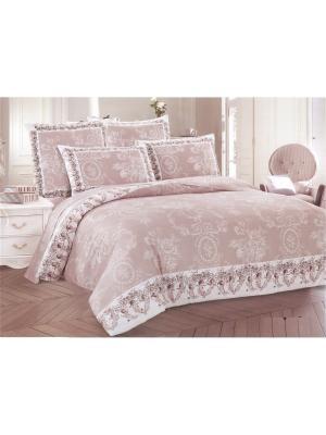 Комплект постельного белья евро 70х70, сатин Jardin. Цвет: светло-коричневый