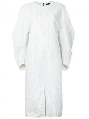 Платье с пышными спадающими рукавами Bassike. Цвет: белый