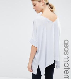 ASOS Maternity Свободная футболка‑кимоно для беременных с V‑образным вырезом сзади AS. Цвет: серый