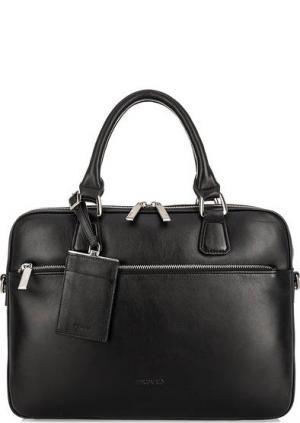 Черная кожаная сумка на двухзамковой молнии Picard. Цвет: черный
