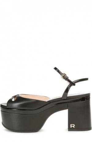 Кожаные босоножки на массивном каблуке Rochas. Цвет: черный