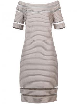 Приталенное платье в рубчик Tadashi Shoji. Цвет: серый
