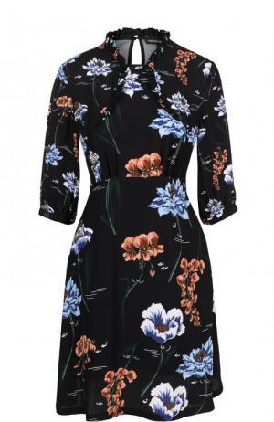 Приталенное мини-платье с цветочным принтом Markus Lupfer. Цвет: черный