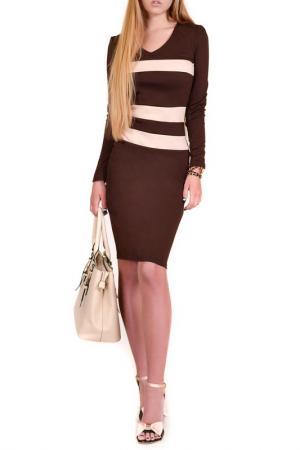 Повседневное платье FRANCESCA LUCINI. Цвет: коричневый, бежевый