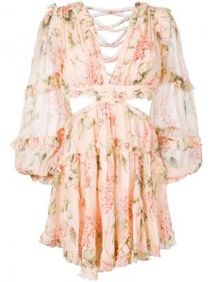 Мини-платье с цветочным принтом Zimmermann. Цвет: телесный