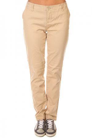 Штаны прямые женские  Hang Out Pants Trader Zoo York. Цвет: бежевый