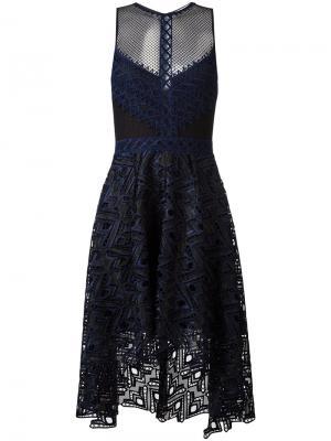 Прозрачное платье с вырезными деталями Jonathan Simkhai. Цвет: синий