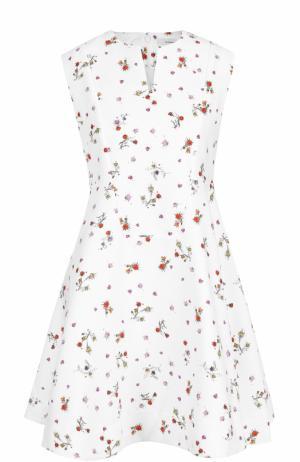 Приталенное мини-платье с цветочным принтом Carven. Цвет: белый