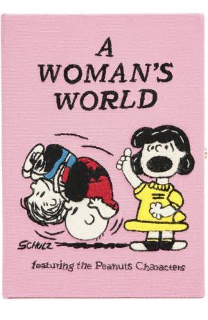Клатч в виде книги с вышивкой Olympia Le-Tan. Цвет: розовый