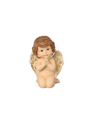 Фигурка декоративная Задумчивый ангелочек Elan Gallery. Цвет: бежевый, золотистый, коричневый