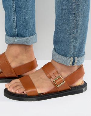 Dr Martens Светло-коричневые сандалии Kennet. Цвет: рыжий
