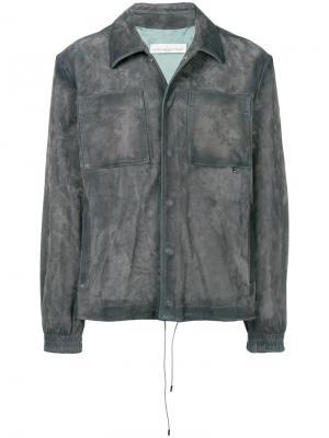 Приталенная кожаная куртка Golden Goose Deluxe Brand. Цвет: серый