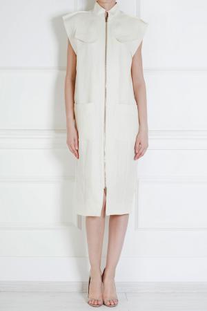 Хлопковое платье Roland Mouret. Цвет: слоновая кость
