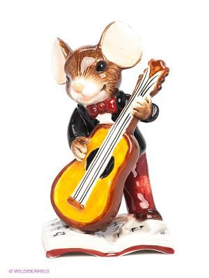 Фигурка Мышонок-музыкант Pavone. Цвет: коричневый, рыжий, белый, бордовый