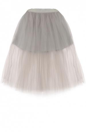 Пышная юбка-миди Monnalisa. Цвет: серый