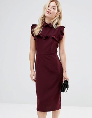 Alter Платье-футляр с оборкой на кокетке. Цвет: красный
