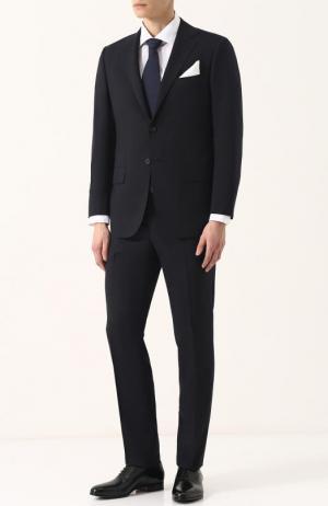 Шерстяной костюм с пиджаком на двух пуговицах Kiton. Цвет: темно-синий