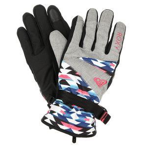 Перчатки сноубордические женские  Jetty Gloves Geofluo An Blue Print Roxy. Цвет: мультиколор,серый
