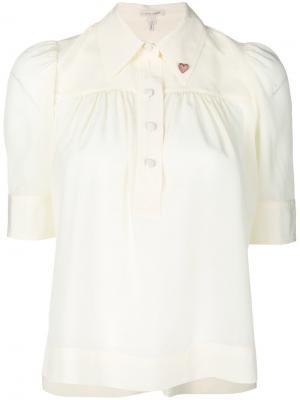 Блузка с сердечками на воротнике и укороченными рукавами Marc Jacobs. Цвет: белый