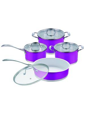 Набор посуды.2 кастрюли 2,4л/3,7л. Ковш 1,7л. Сковорода 2,9л. RAINSTAHL. Цвет: фиолетовый