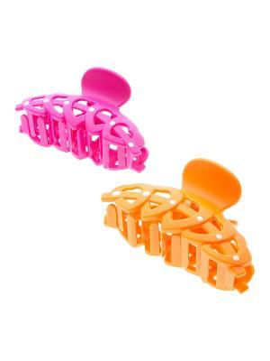 Заколка-краб (2 шт.) Migura. Цвет: оранжевый, розовый