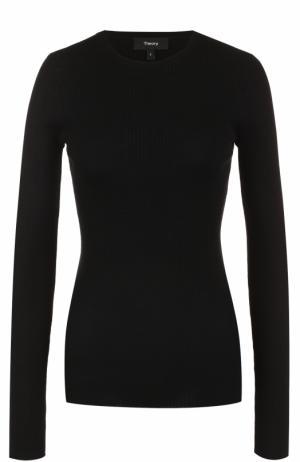 Облегающий пуловер фактурной вязки Theory. Цвет: черный