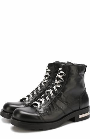 Высокие кожаные ботинки на шнуровке O.X.S.. Цвет: черный