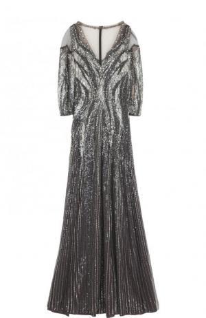 Приталенное платье-макси с вышивкой Jenny Packham. Цвет: серебряный