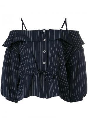 Блузка в полоску с открытыми плечами Jovonna. Цвет: синий