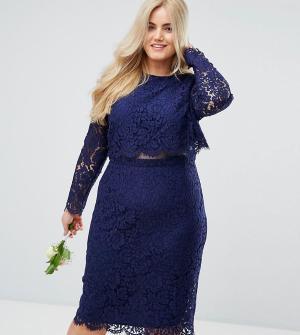 ASOS Curve Кружевное платье-футляр миди с длинными рукавами WEDDING. Цвет: темно-синий