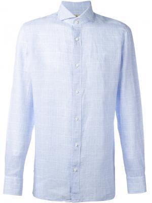 Рубашка в клетку Borrelli. Цвет: синий