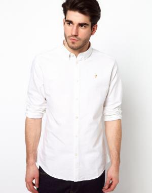 Farah Белая оксфордская рубашка слим Brewer. Цвет: белый