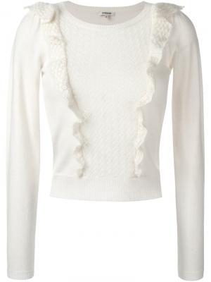 Укороченный свитер с оборками Manoush. Цвет: белый