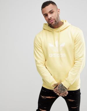 Adidas Originals Желтый худи с логотипом adicolor CW1243. Цвет: желтый