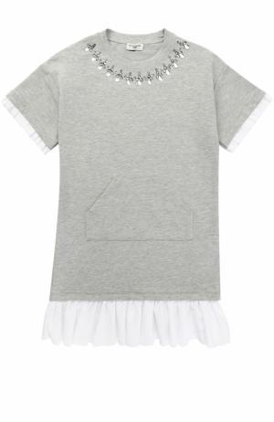 Платье джерси свободного кроя с оборками и стразами Monnalisa. Цвет: серый