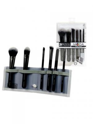 Royal & Langnickel  MODA TOTAL FACE SET. Набор кистей для макияжа всего лица в чехле Royal&Langnickel. Цвет: черный