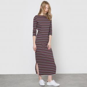 Платье длинное в полоску La Redoute Collections. Цвет: темно-синий в темно-бежевую полоску