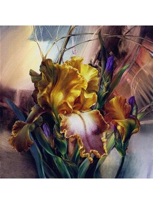 Декоративная наволочка Ирисы Рапира. Цвет: желтый, белый, фиолетовый