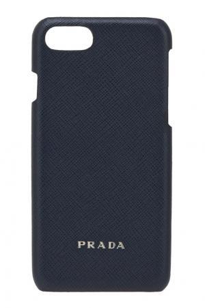 Кожаный чехол для IPhone 7 Prada. Цвет: синий