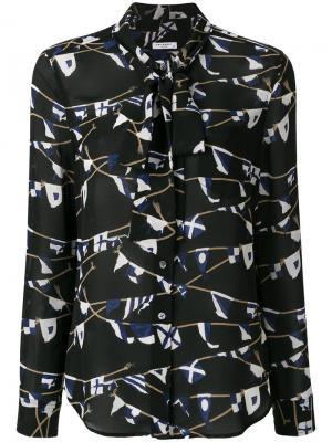 Блузка с принтом и завязками Equipment. Цвет: чёрный