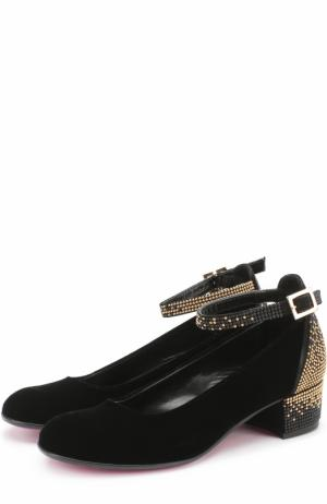 Комбинированные туфли с отделкой стразами Missouri. Цвет: черный