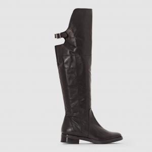Сапоги-чулки кожаные с ремешком пряжкой La Redoute Collections. Цвет: черный