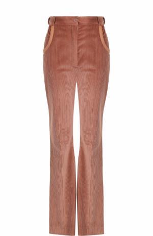 Вельветовые расклешенные брюки Nina Ricci. Цвет: бежевый
