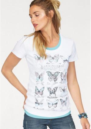 Комплект: футболка + топ Flashlights. Цвет: белый с рисунком+мятный