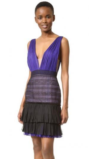 Платье с V-образным вырезом и кружевной юбкой J. Mendel. Цвет: тутовник